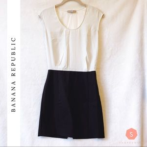 Banana Republic White & Black Fitted Dress
